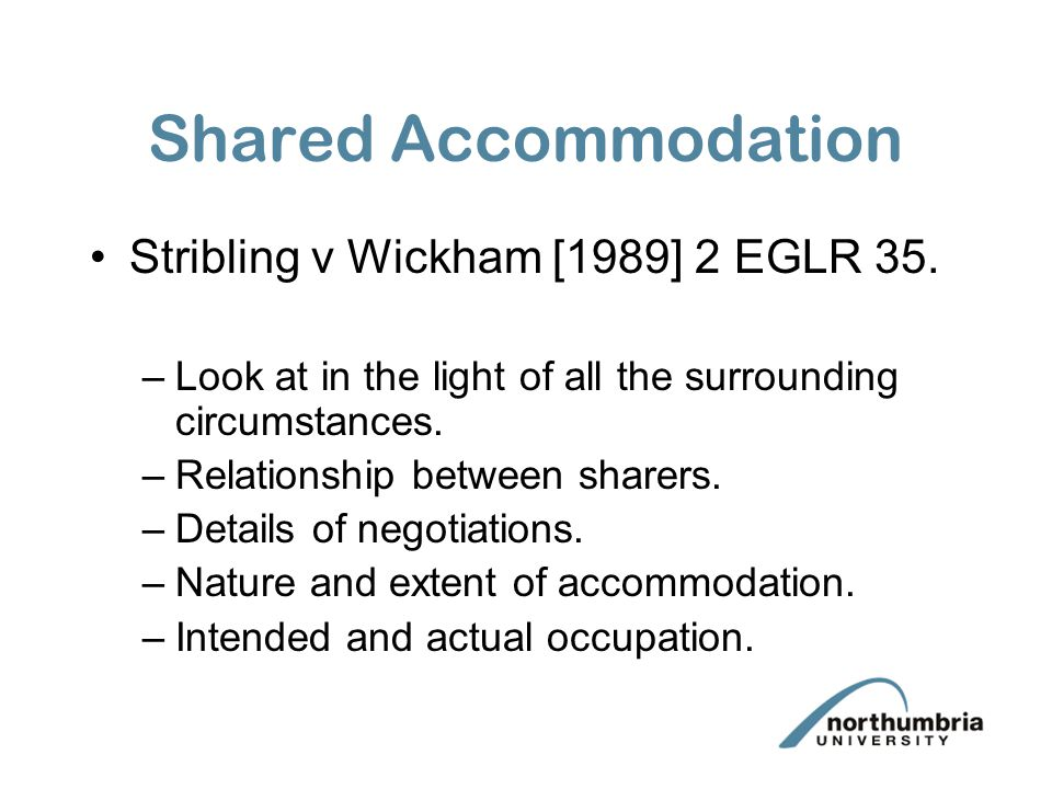 Shared Accommodation Stribling v Wickham [1989] 2 EGLR 35.